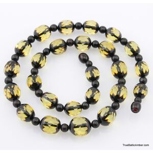 Faceted Baltic amber greenish ROUND beads necklace 20in