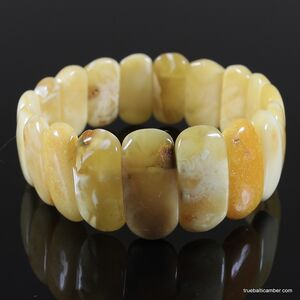 Anitique stretch butter pieces Baltic amber bracelet