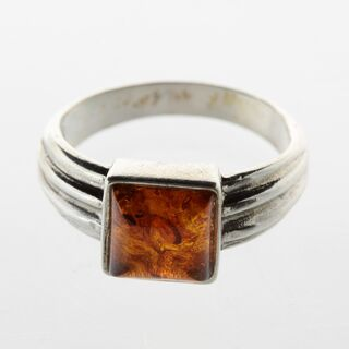 Square shape Baltic amber silver ring