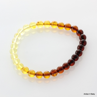 Polished ROUND beads Baltic amber stretchy bracelet