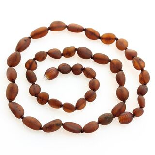 Raw Cognac BEANS Baltic amber knotted necklace 46cm