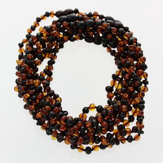 10 Multi BROQUE teething Baltic amber necklaces 33cm