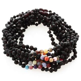 10 Raw Cherry Gems Baltic Amber teething necklaces 33cm