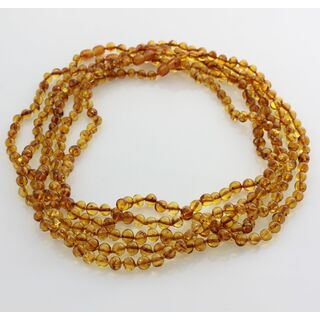5 Honey BAROQUE beads Baltic amber adult necklaces 50cm