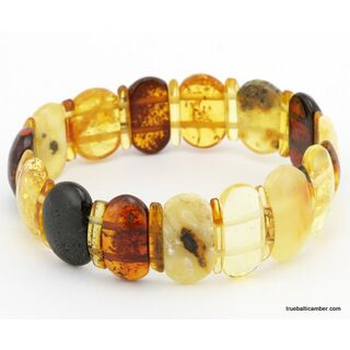 Glittering mix pieces Baltic amber bracelet 8in