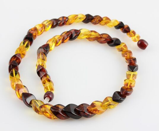 Overlapping Rainbow pieces Baltic amber necklace