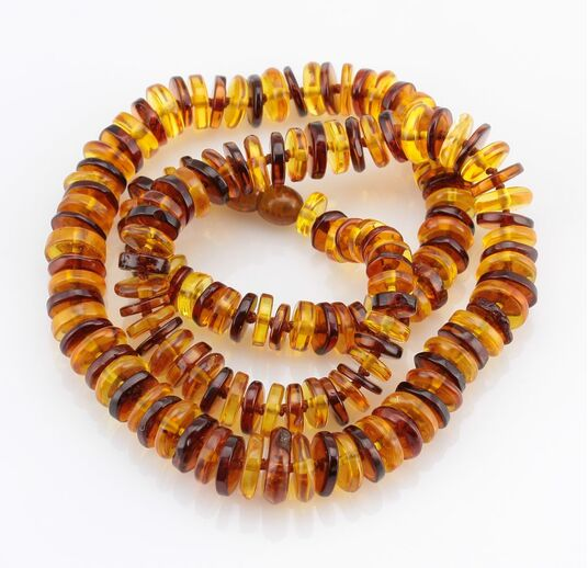 Multi BUTTONS Baltic amber necklace 22in