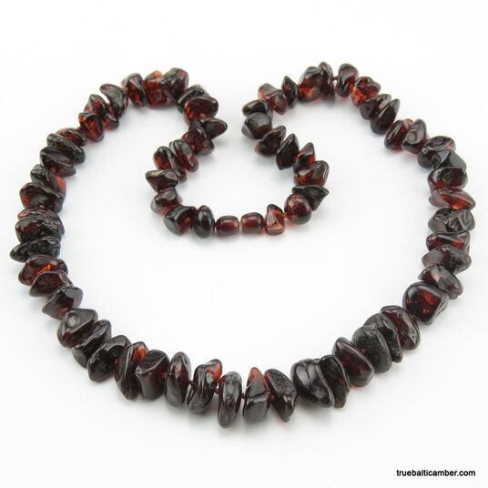 Large Ruby beads Baltic amber necklace