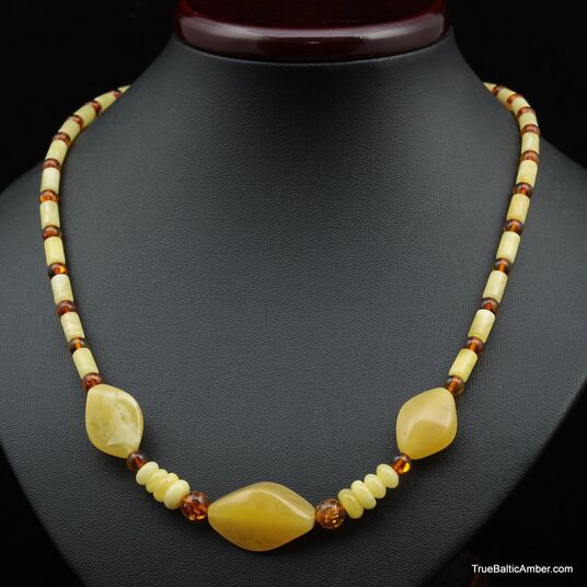 Artisan combination beads Baltic amber necklace 20in