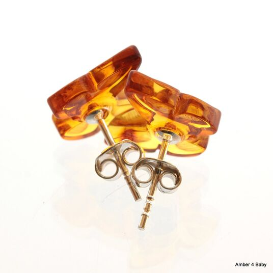 Carved Butterfly Baltic Amber Stud Earrings