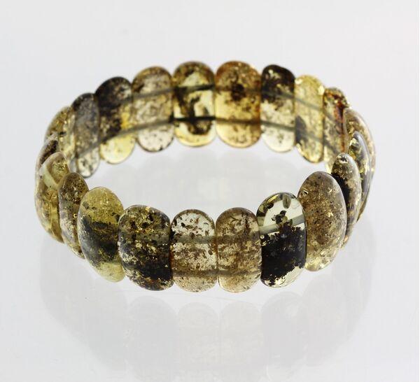 Green pieces Baltic amber elastic bracelet 19cm