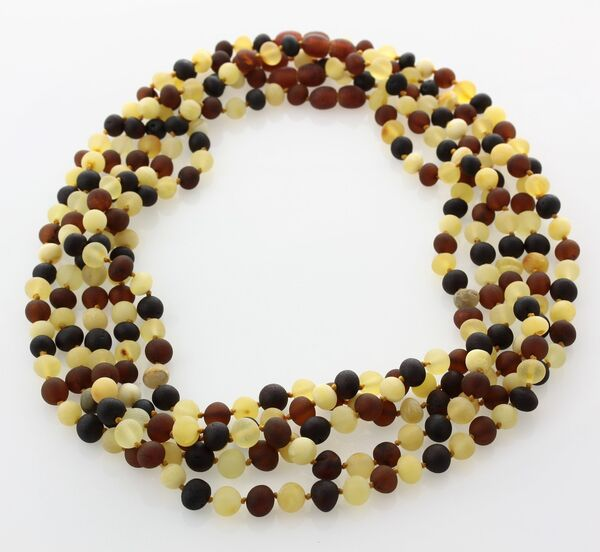 5 Raw Multi BAROQUE Baltic amber adult necklaces 46cm