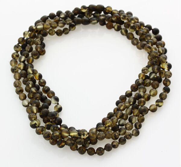 5 Raw Dark ROUND beads Baltic amber adult necklaces 46cm