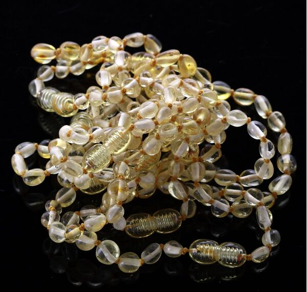 10 Lemon BEANS Baltic amber teething Baby bracelets 14cm