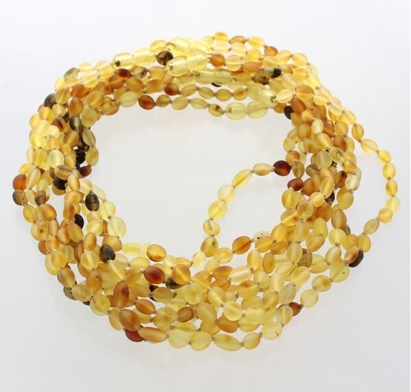 10 Raw MIX BEANS Baby Baltic amber teething necklaces 38cm