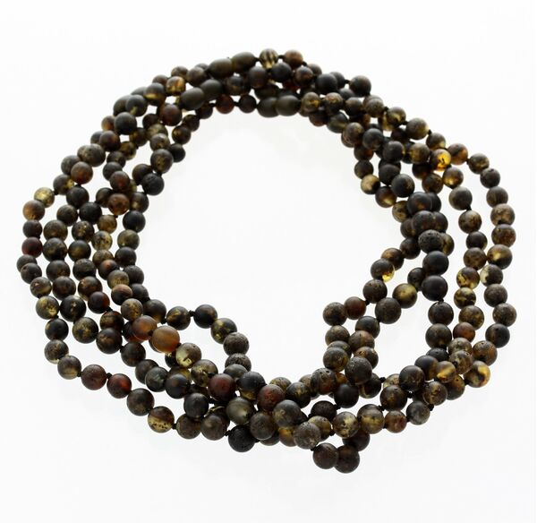 5 Raw Dark ROUND beads Baltic amber adult necklaces 45cm