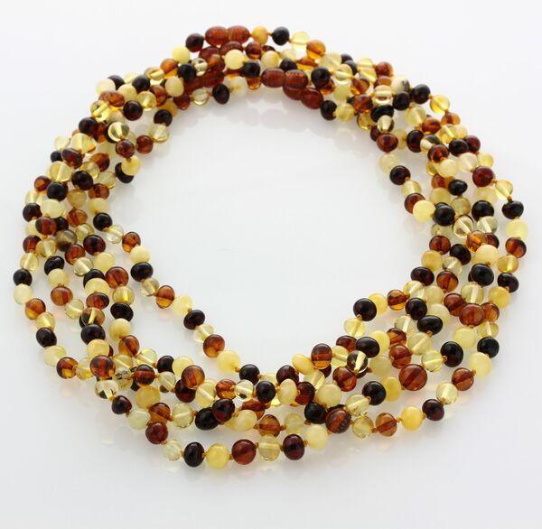 5 Multi BAROQUE Baltic amber adult necklaces 48cm