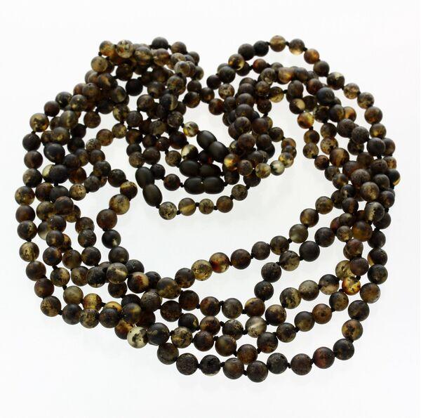 5 Raw Dark ROUND beads Baltic amber adult necklaces 55cm
