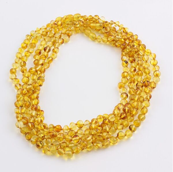 5 Honey BAROQUE beads Baltic amber adult necklaces 48cm