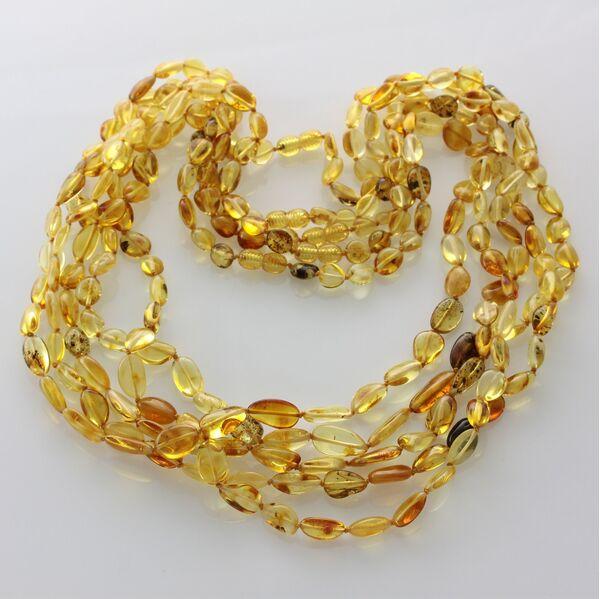 5 Mix BEANS Baltic amber adult necklaces 65cm