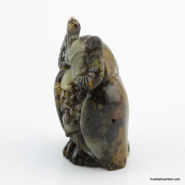 Carved Genuine BALTIC AMBER - Owl