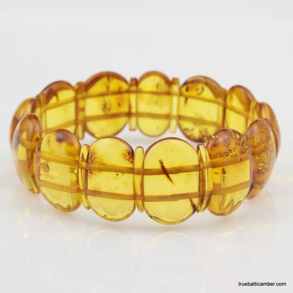 Honey pieces Baltic amber elastic bracelet 8in