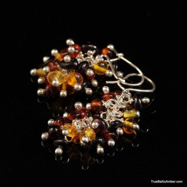 Grape bunch Baltic amber multi dangle earrings