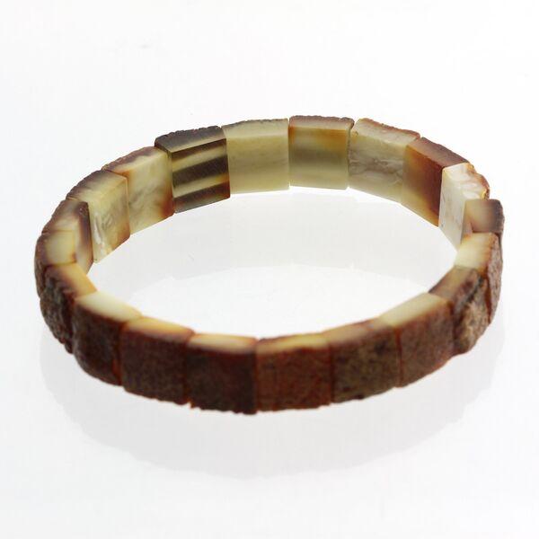 Rough Squares Baltic amber stretch bracelet 19cm