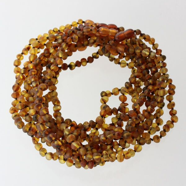 10 Raw Green BAROQUE Baltic amber teething necklaces 33cm