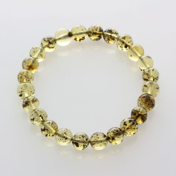Polished Green ROUND beads Baltic amber stretchy bracelet 18cm