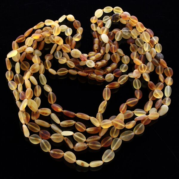 5 Raw Mix BEANS Baltic amber adult necklaces 55cm