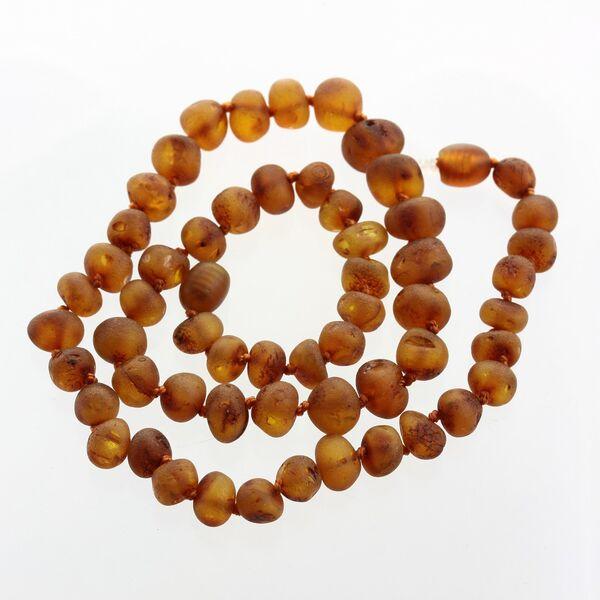 Raw Cognac BAROQUE beads Baltic amber necklace 45cm