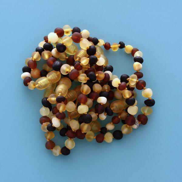 10 Raw Multi BAROQUE Baltic amber teething bracelets 12cm