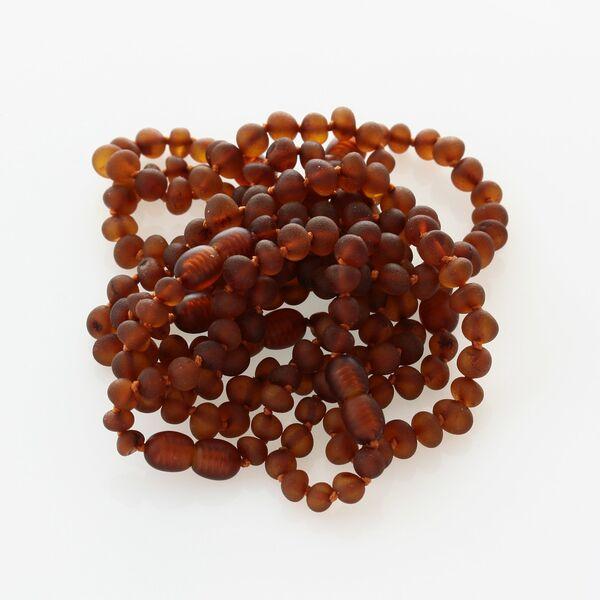 10 Raw Cognac BAROQUE Baltic amber teething bracelets 13cm