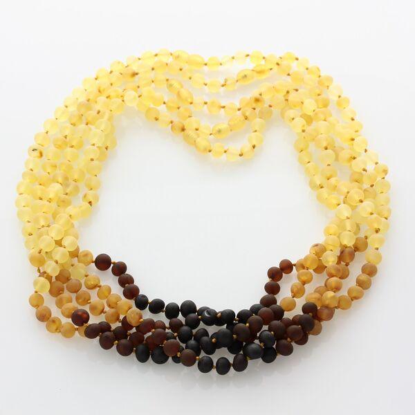 5 Raw Rainbow BAROQUE Baltic amber adult necklaces 51cm