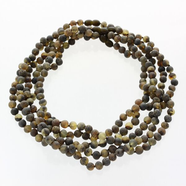 5 Big Raw Green BAROQUE Baltic amber adult necklaces 47cm