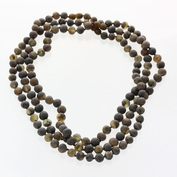 3 Big Raw Green BAROQUE Baltic amber adult necklaces 50cm
