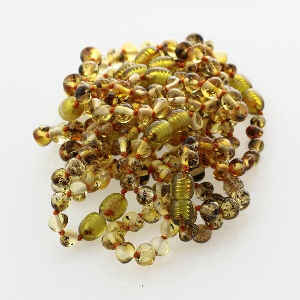10 Green BAROQUE Baltic amber teething bracelets 14cm