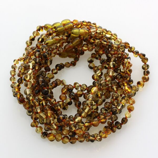 10 Green BAROQUE Baltic amber teething necklaces 28cm