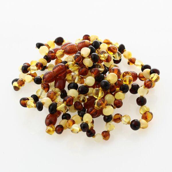 10 Multi BAROQUE Baltic amber teething bracelets 13cm