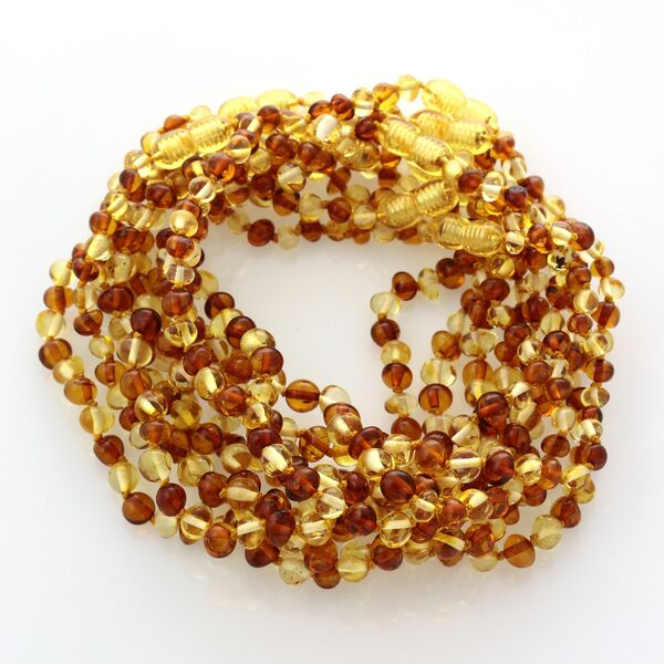 10 Multi BROQUE teething Baltic amber necklaces 28cm