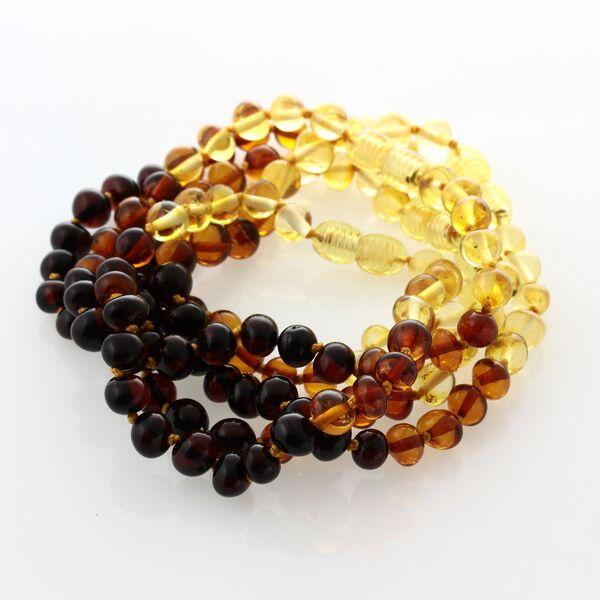 5 Rainbow BAROQUE Baltic amber adult bracelets 19cm