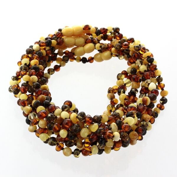 10 Multi BAROQUE teething Baltic amber necklaces 32cm