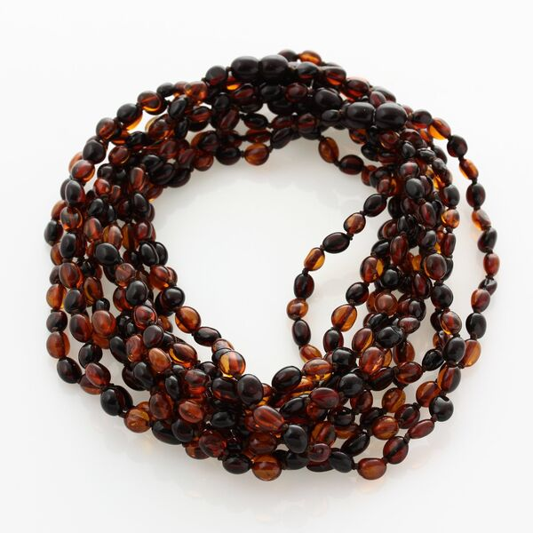 10 Multi BEANS Baby teething Baltic amber necklaces 33cm