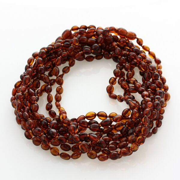 10 Cognac BEANS Baby teething Baltic amber necklaces 33cm