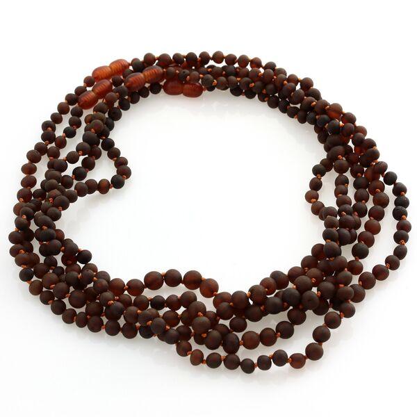 5 Small Raw Cognac BAROQUE beads Baltic amber adult necklaces 45cm