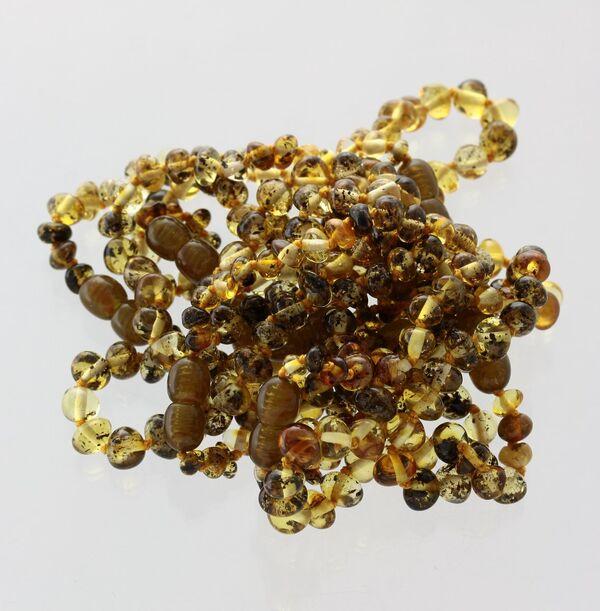 10 Big Green BAROQUE Baltic amber teething bracelets 16cm